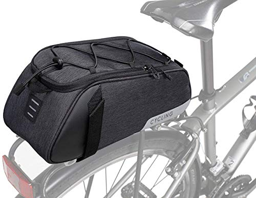 WOTOW Bike Rear Seat Bag, Bicycle Backseat Bag Cycling Pannier Rear Rack Trunk Bag Chest Bag Water Resistant 7L Massive Capacity for Outdoor Traveling Hunting Commuting (Black)