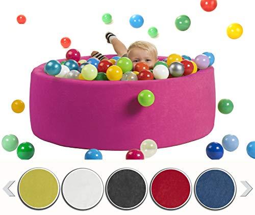 sunnypillow Bällebad für Baby Kinder mit 200 bunten Bällen∅ 7cm Bällepool 90x30cm viele Farben zur Auswahl Spielbälle Kugelbad Spielbecken Farbe : rosa