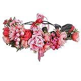Diadema con corona de flores, tocado de festival, corona de pelo de flores hecha a mano con cinta, diadema de flores de bayas para vestido de mujeres y niñas (Rojo sandía + Rosa claro)