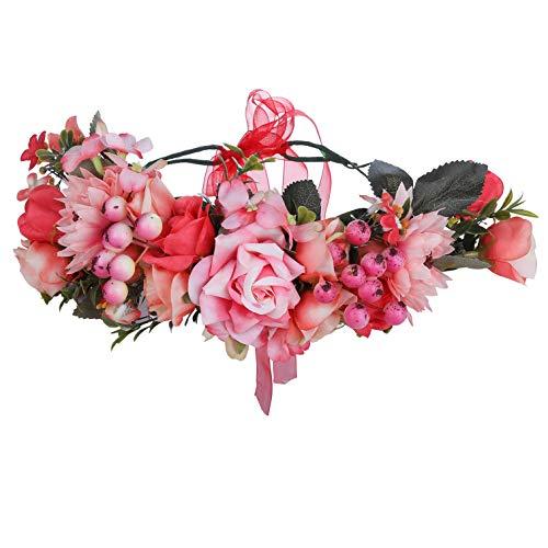 AWAYTR Boho Blumenkrone Stirnband Festival Kopfschmuck - Handgefertigt Blume Haarkranz mit Band Beere Blumenstirnband für Frauen und Mädchen Kleid (Wassermelone rot +...