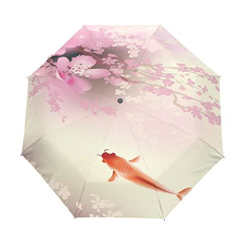 AOTISO Spring Pink Cherry Blossom Koi Carp 3 Pliegues Auto Abrir Cerrar Paraguas