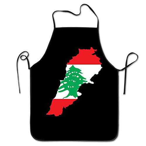 WEIQUN Flag Map of Lebanon Unisex Kitchen Bib Apron Supermarket Overalls Tea Shop with Adjustable Neck Chef's Apron