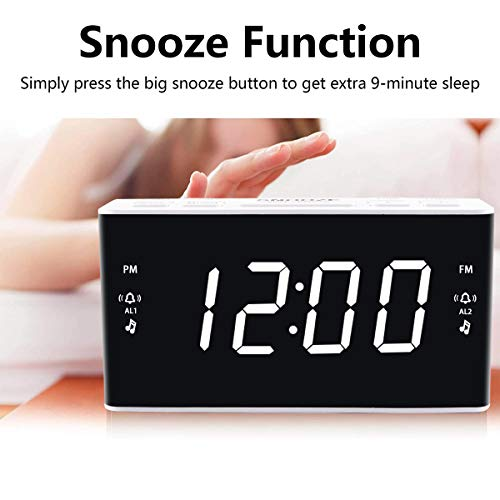 Digital Alarm Clock Radio, Alarm Clocks for Bedrooms with AM/FM Radio, 1.6 Inch White Digit Display with Dimmer, Dual Alarm, Snooze, Sleep Timer.