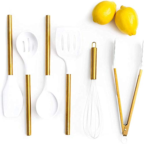 White Silicone and Gold Cooking Utensils for Modern Cooking and Serving, Stainless Steel Gold Serving Utensils - Spatulas for Non Stick Cookware