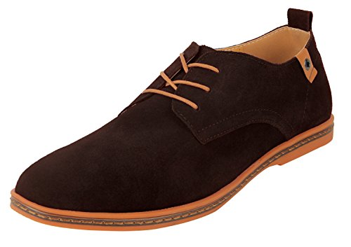 4HOW Men's Oxford Shoe Suede Leather Dress Tan US 8.5 M (Clearnance)