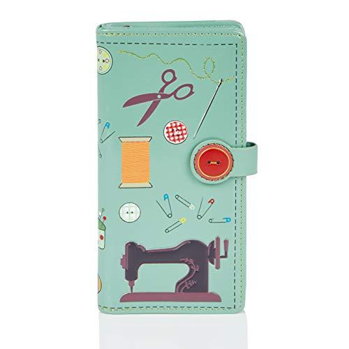 Shagwear Portemonnaie Geldbörse für junge Damen, Mädchen Geldbeutel Portmonaise groß Designs:, Nähzeug Helltürkis/ Sewing Needs, Large