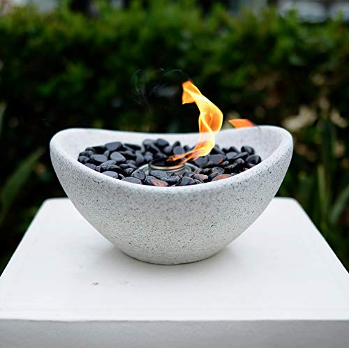 Table Top Fire Bowl, Ventless Outdoor Cement Portable Bio Ethanol Fire Pit, Modern Round Table Fireplace (Zedge Bowl)