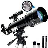 RUNPRISM Telescopio Astronómico 400/70 mm, Telescopio Refractor Portátil con Trípode Ajustable y Visor, para Principiantes, Niños, Adultos (Negro)