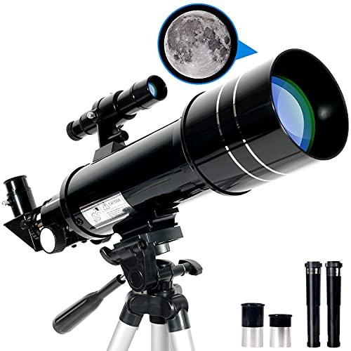 RUNPRISM Telescopio Astronomico 400 70 mm, Telescopio Rifrattore con Treppiede Regolabile e Mirino, Adatto Principianti, Bambini, Adulti (Nero)