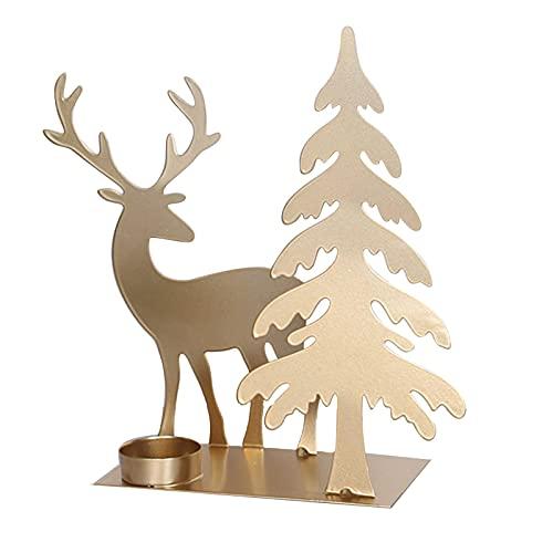 Candelabro de flor de loto dorado, candelabro de arte de hierro en forma de árbol, creativo, romántico portavelas para sala de estar, Navidad, fiesta, decoración (árbol y ciervos)