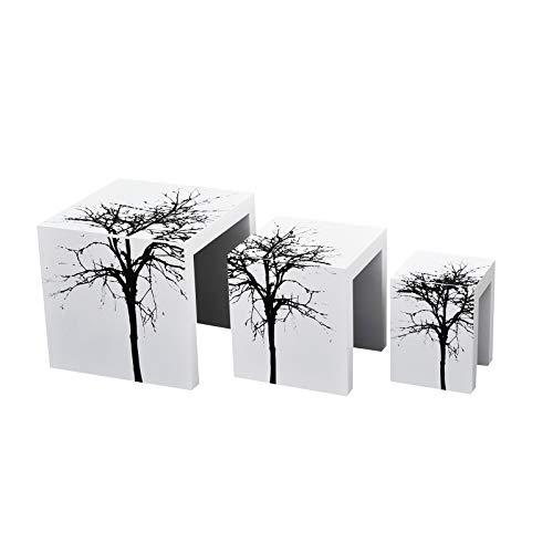 HOMCOM Beistelltische 3er Set Couchtisch Satztische Holz Hocker lackiert