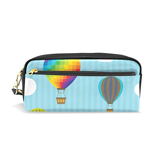 AMONKA Pencil Case Hot Air Balloons Pen Holder Cosmetic Makeup Bag Women Durable Stationery Pouch Bag Large Capacity for School Kid Boys Children Teens Office Supplies Adult PU Leather Zippers