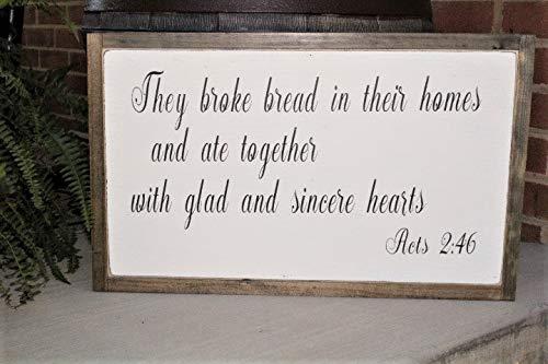 Ced454sy Ze brak brood in hun huizen Bijbel Verse Teken Geestelijke teken Keuken Teken Handelingen 246 Familie Teken Zegen Genade Voedsel Tekenen liefde