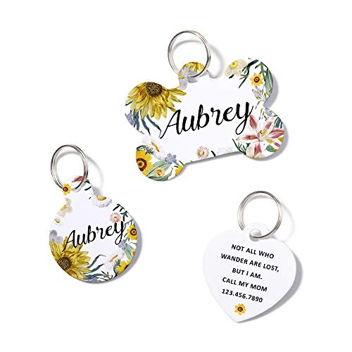 waaag Pet ID Tags, 50 Styles+ Personalized Floral Flower Girl Lovely Pet ID Tags, Dog Tag, Cat Tag, Name ID Tag, Dog Collar Tag, Cat Collar Tag
