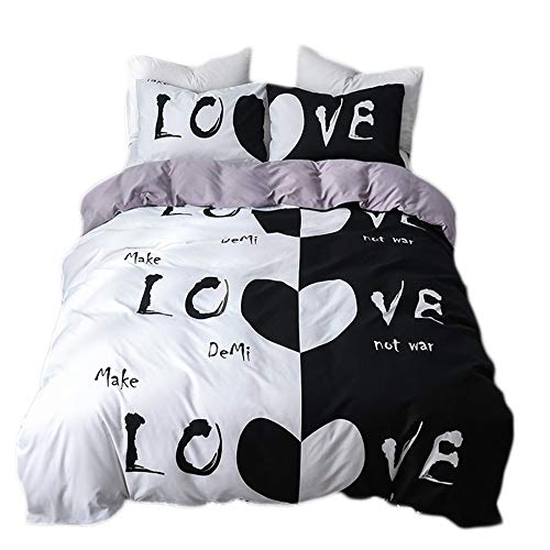 ADASMILE A & S Black White Bedding His Side Her Side Bedding King Size Black White Duvet Cover Simple Room Decor
