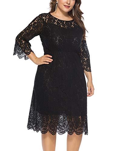 FEOYA - Vestido de Fiesta Encaje para Mujer Falda Larga Cuello Redondo Talla Grande para Ceremonia Boda Viaje Negro - Talla 4XL/ES 56