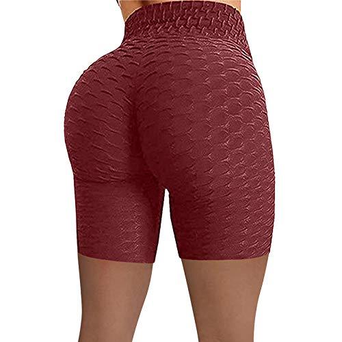 NAQUSHA Mujeres Honeycomb Yoga Pantalones de Cintura Alta Estiramiento de la Cadera Medias de Ejecución de Levantamiento de Culo Pantalones Cortos de