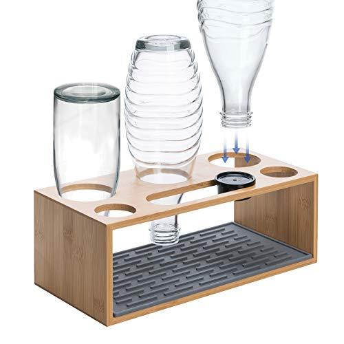 Wemk Flaschenhalter, Glasflaschen Halter mit Silikon Abtropfmatte und Deckelhalter, Bambus Abtropfständer für 3 er Flaschen - Geeignet für Eine Vielzahl von Flaschen