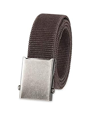 Columbia Men's Military Web Belt - Casual for Jeans Adjustable One Size Cotton Strap and Metal Plaque Buckle,Brown,One Size