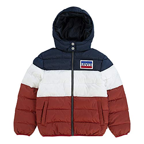 Levi's Boys' Toddler Puffer Jacket, Navy/White/Red, 2T