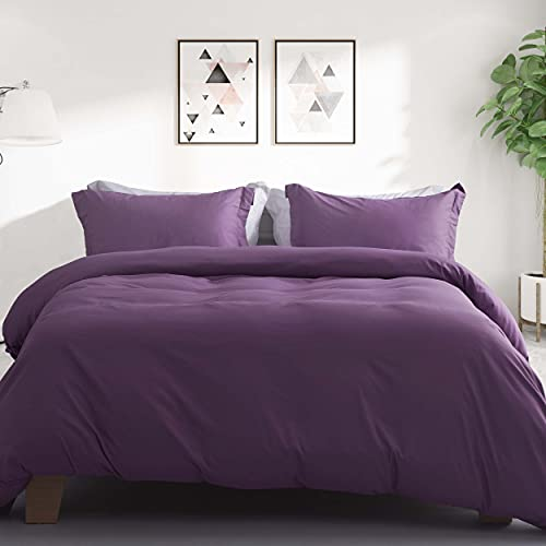 Ousidan 3 Pieces Duvet Cover Set Purple Bedding Set Full/Queen Size Skin-Friendly Brushed Microfiber Comforter Cover 1 Soft Cover 2 Pillow Cases with Concealed Button Closure and Ties-90x90inches