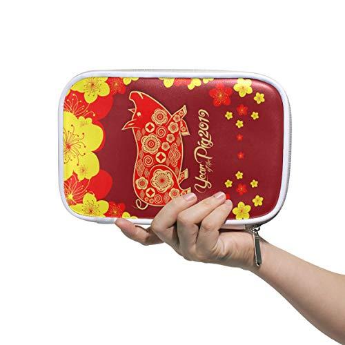 Étui à crayons en cuir sac à cosmétiques chinois 2019 année du cochon 15 organisateur grande capacité pour l'école de voyage