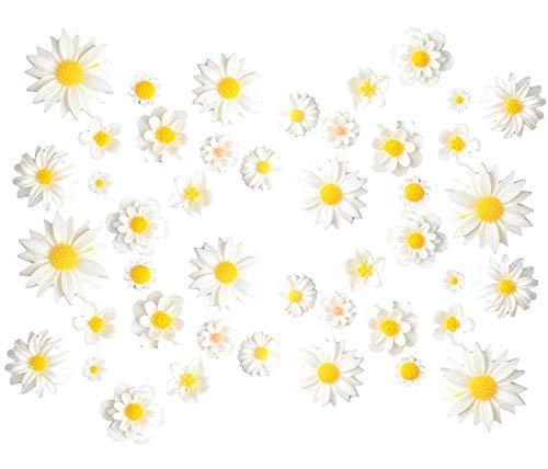 44 Stück Blume Harz Charms Gänseblümchen Pfingstrose Kunststoff Flatback lose Perlen für Schmuckherstellung Scrapbooking Handy Tasche Deko Haarschmuck Fee Garten Dekoration, weiß, Assorted 11 sizes
