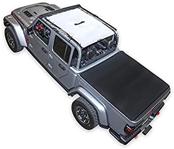 SPIDERWEBSHADE Compatible with Jeep Gladiator Mesh Shade Top Sunshade UV Protection Accessory USA Made for Your JT 4-Door 2018 - current in Black