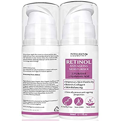 2.5% Retinol Collagen Rejuvenating Cream with Hyaluronic Acid, Vitamin E Vitamin B5 and Organic Facial Oils, Powerful Anti Ageing Anti Wrinkle Moisturiser for Younger Looking Skin, 30ml from Intelligent Cosmetics