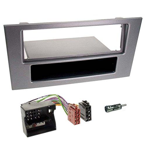 Carmedio Ford Mondeo 03-07 1-DIN Autoradio Einbauset in original Plug&Play Qualität mit Antennenadapter Radioanschlusskabel Zubehör und Radioblende Einbaurahmen dunkelgrau