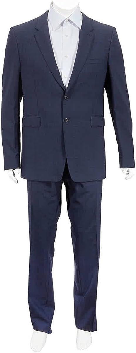 Burberry Men's Navy Blue Plaid Two Button Notch Lapel Wool Trim Fit Suit, Brand Size 56R (US Size 46)