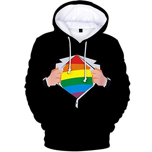 Luanda* Bandera del Arco Iris, Regalos LGBT, Rompevientos De Venta SúPer Caliente, Sudadera con Capucha De Pareja A Juego, Jersey, Sudadera, Regalar Una Pulsera/A / 2XL