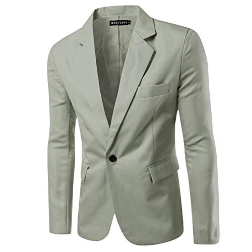 Metermall Fashion For Men Slim Single button Lapel Suit Simple Solid Color Large Size Casual Blazer Coat