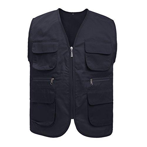 TOPTIE Adult Supermarket Volunteer Activity Vest Multi-Pocket Waistcoat, Black