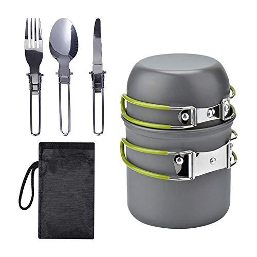 Sharplace Juego de Utensilios de Cocina de Camping 5 Piezas Backpacking Senderismo vajilla cazuela, Pesca al Aire Libre cocinar Cubiertos Plegables Tenedor - Verde