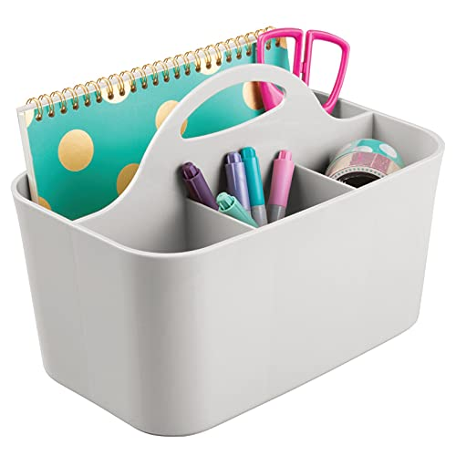 mDesign Plastic Small Office Storage Organizer Utility Tote Caddy Holder with Handle for Cabinets, Desks, Workspaces - Holds Desktop Office Supplies, Pencils, Staplers Lumiere Collection - Light Gray
