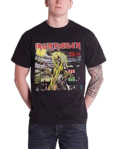 Iron Maiden T Shirt Killers Album eddie band logo Uomo nero nuovo Ufficiale
