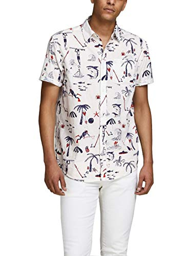 Camisa Jack&Jones Hombre Blanco 12152601 JORRAYAN Shirt SS ORG Cloud Dancer