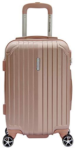 Tamaris Style Kleiner Hartschalen Koffer, 4 Rollen Reisekoffer für Damen/Herren mit TSA-Zahlenschloss, 54x36x23 – 35L, Rose