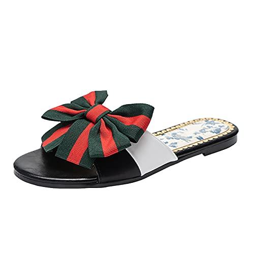 OJBK Sandalias De Gelatina con Lazo Diamantes Imitación para Mujer Zapatillas Planas Punta Abierta Nudo Zapatos Verano Cuero Sintético,Negro,40