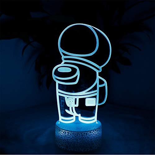Entre nosotros 3D Ilusión Lámpara de mesa LED de 7/16 colores ilusión luz nocturna entre nosotros lámpara de mesa de juego lámpara de decoración de dormitorio, ambiente de noche luces para