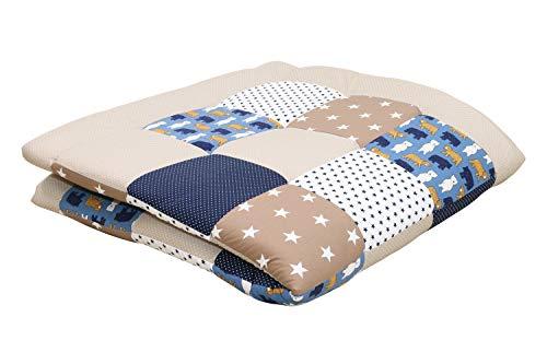 Alfombra para gatear de ULLENBOOM  con beige oso (manta para bebé de 140x140 cm; ideal como colcha para el cochecito; apta como alfombra de juegos)