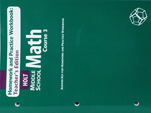 Homework and Practice Workbook Teachers Edition Middle School Math,  course 3