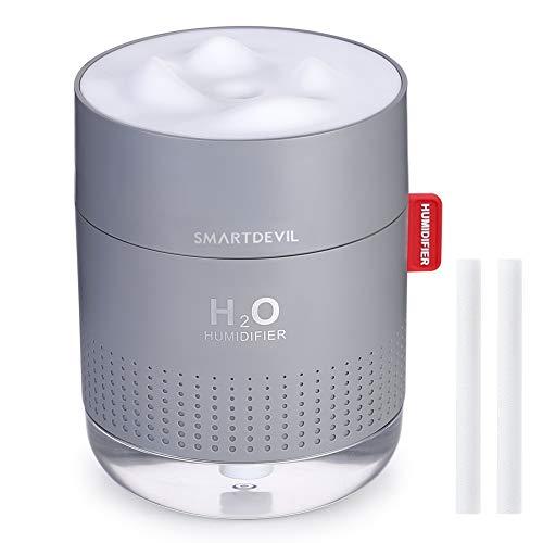 SmartDevil USB Luftbefeuchter 500ml, Mini Air Humidifier Ultra Leise luftbefeuchter, Automatische Abschaltung Tragbarer Luftbefeuchter, Keine Batterie, Ätherisches Öl verboten, 2 Filter