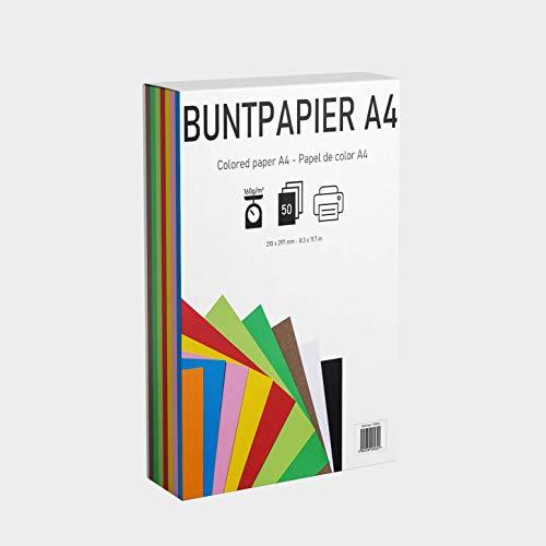 EAF supplies 50 Blatt buntes DIN-A4 Tonpapier, Set aus 10 Farben in 160g/m², Tonzeichenpapier bunt zum Zeichnen, Drucken, Basteln, DIY-Bedarf, Grußkarten und vielem mehr