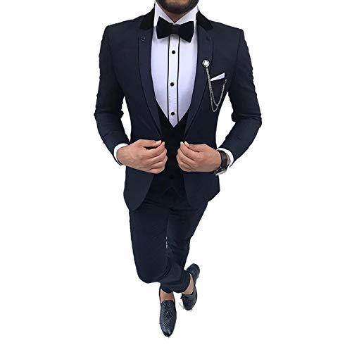 Outwear (Jacket+Pant+Vest Latest Double Collar Design Men Suit Wedding Slim Fit Tuxedo Three Piece Business Men Suits Costume Homme-Dark Navy Blue-Xs