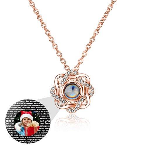 Collar de 100 idiomas TE AMO Collar de foto personalizado Collar de proyección Collar de memoria de amor Collar de promesa(Oro rosa a todo color 20)