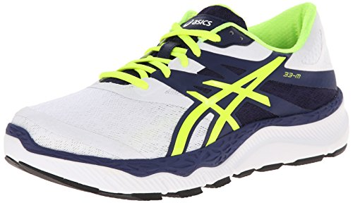ASICS Men's 33-M Running Shoe, White/Flash Yellow/Navy,10 M...