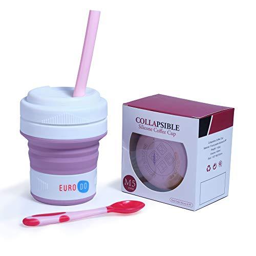 EURODO Taza de Café 450ML para Llevar con Tapa, Pajita y Cuchara - Taza de Viaje Reutilizable Plegable de Silicona - Taza Portátil Cierre Hermético (Rosa)