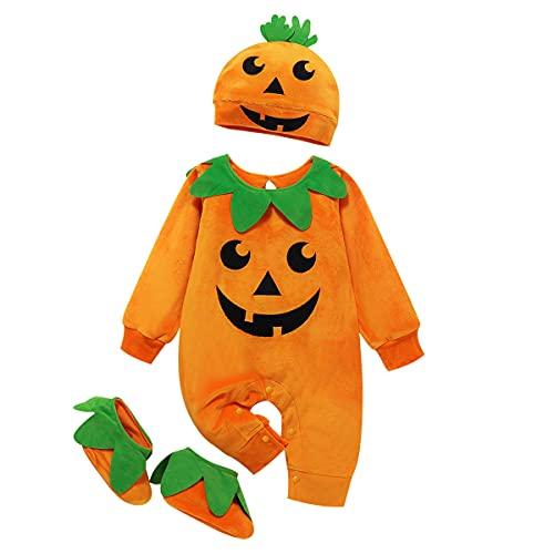 TMOYJPX Disfraz Halloween Bebe Niña Niño Calabaza Cremallera Monos / Sudadera con Capucha, Disfraces Halloween Niñas Recien Nacido (B~Mono+Sombrero+Zapato, 12-18 meses)
